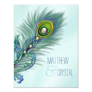 Casamento azul do pavão da cerceta convite 10.79 x 13.97cm