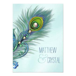 Casamento azul do pavão da cerceta convite 13.97 x 19.05cm