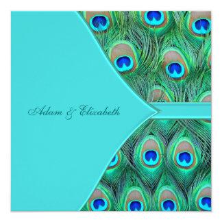 Casamento azul do pavão da cerceta convite quadrado 13.35 x 13.35cm