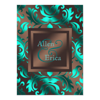 Casamento azul e castanho chocolate da cerceta convite