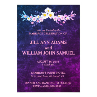 Casamento azul e roxo bonito convite 12.7 x 17.78cm