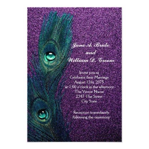 Casamento azul e roxo da cerceta elegante do pavão convites personalizado