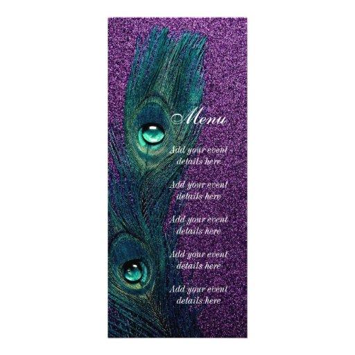 Casamento azul e roxo da cerceta elegante do pavão convite personalizado