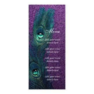 Casamento azul e roxo da cerceta elegante do pavão convite 10.16 x 23.49cm