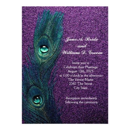 Casamento azul e roxo da cerceta elegante do pavão convites