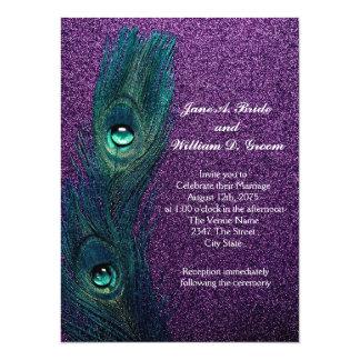 Casamento azul e roxo da cerceta elegante do pavão convite 13.97 x 19.05cm