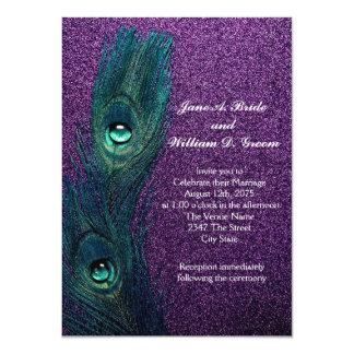Casamento azul e roxo da cerceta elegante do pavão convite 11.30 x 15.87cm