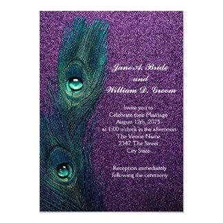 Casamento azul e roxo da cerceta elegante do pavão convite 12.7 x 17.78cm