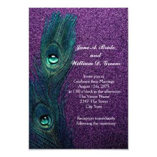 Casamento azul e roxo da cerceta elegante do pavão convite 8.89 x 12.7cm