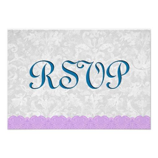 Casamento azul e roxo do Aqua do laço Convite Personalizados