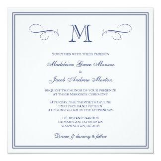 Casamento azul escuro formal do monograma | convite quadrado 13.35 x 13.35cm