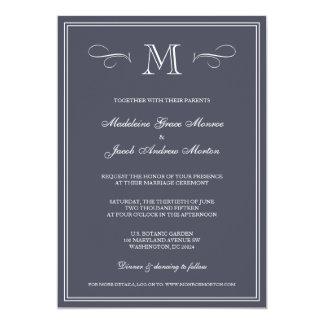 Casamento azul formal do monograma | convite 12.7 x 17.78cm