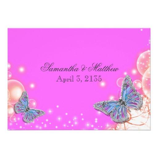Casamento azul roxo cor-de-rosa da borboleta convite personalizado