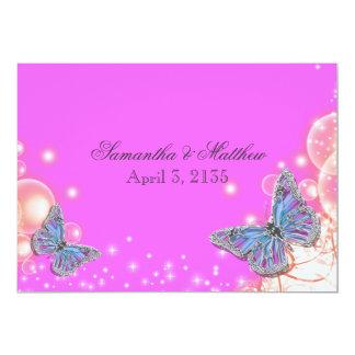 Casamento azul roxo cor-de-rosa da borboleta convite 12.7 x 17.78cm