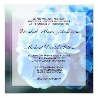 Casamento azul roxo do Hydrangea Convite Quadrado 13.35 X 13.35cm