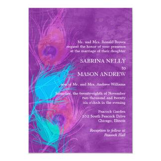 Casamento azul roxo do tema do pavão da cerceta convite 12.7 x 17.78cm