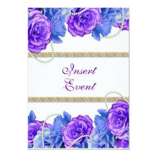 """Casamento azul roxo """"doce dezesseis """" do ouro convite 12.7 x 17.78cm"""