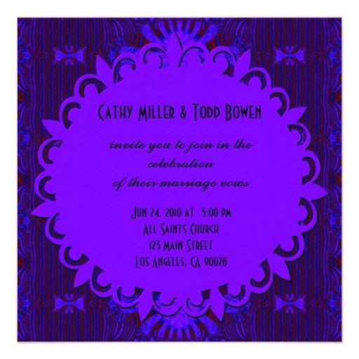 Casamento azul roxo escuro extravagante convite