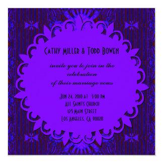 Casamento azul roxo escuro extravagante convite quadrado 13.35 x 13.35cm