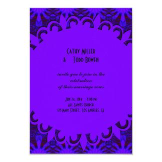 Casamento azul roxo escuro extravagante convite 8.89 x 12.7cm