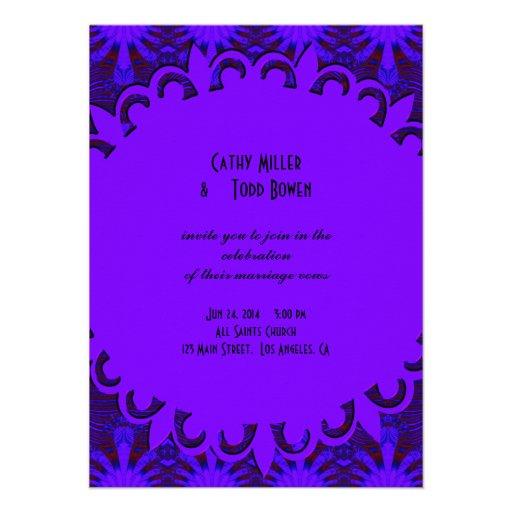 Casamento azul roxo escuro extravagante convite personalizado