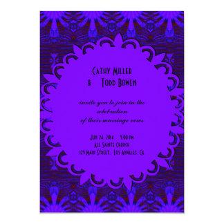 Casamento azul roxo escuro extravagante convite 12.7 x 17.78cm