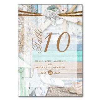 Casamento beira-mar - cartão da mesa