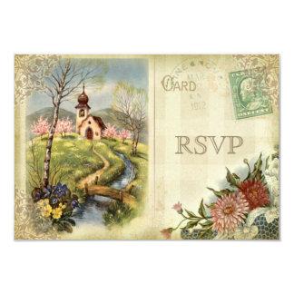 Casamento bonito da igreja RSVP do vintage Convite 8.89 X 12.7cm