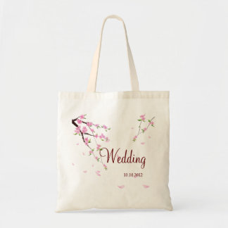 Casamento bonito saco personalizado com Sakura Sacola Tote Budget