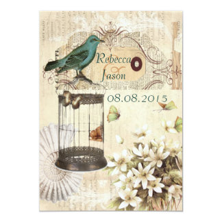 Casamento botânico floral do vintage do pássaro da convite 12.7 x 17.78cm