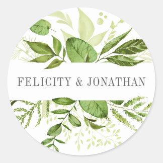 Casamento botânico verde selvagem do prado | adesivo redondo