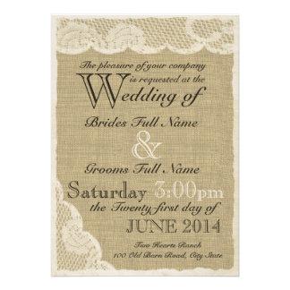 Casamento branco antigo do país do laço convite personalizado