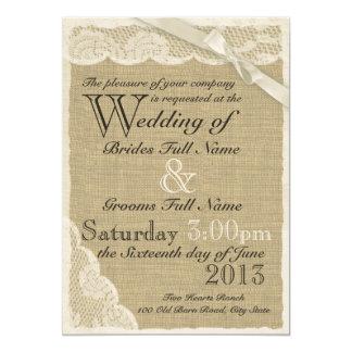 Casamento branco antigo do país do laço convite 12.7 x 17.78cm