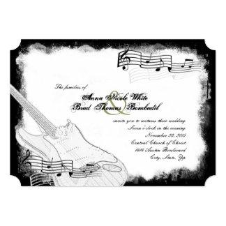 Casamento branco da música do preto Funky da Convite 12.7 X 17.78cm