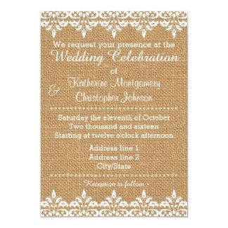 Casamento branco do laço do damasco de convite 12.7 x 17.78cm