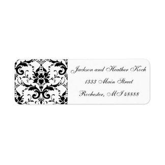 Casamento branco do preto das etiquetas de etiqueta endereço de retorno