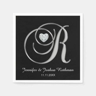 Casamento branco personalizado da letra R do Guardanapo De Papel