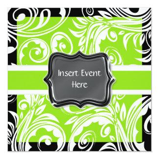 Casamento branco preto verde do noivado convite quadrado 13.35 x 13.35cm