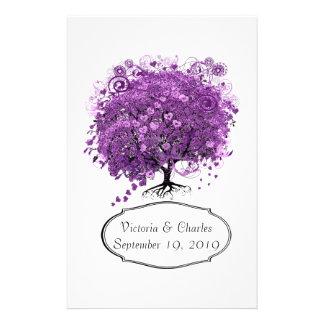 Casamento brilhante da árvore da folha do coração papelaria