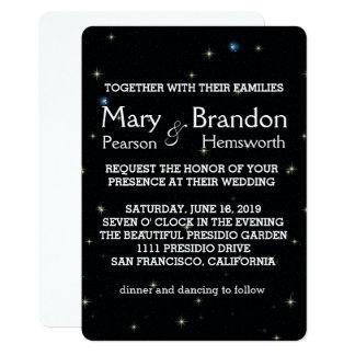 Casamento brilhante e estrelado da nebulosa do convite 12.7 x 17.78cm