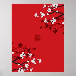 Casamento chinês da felicidade dobro das flores de pôsteres
