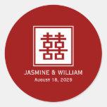 Casamento chinês da felicidade quadrada do dobro d adesivos redondos