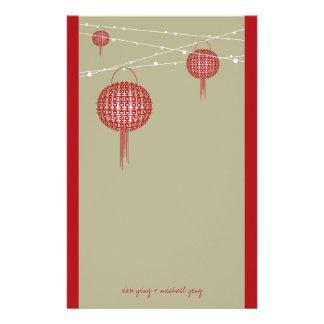 Casamento chinês moderno das lanternas dobro da papelaria
