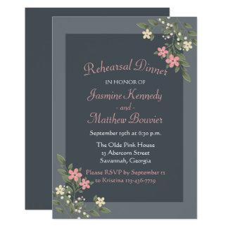 Casamento cinzento do jantar de ensaio das flores convite 12.7 x 17.78cm
