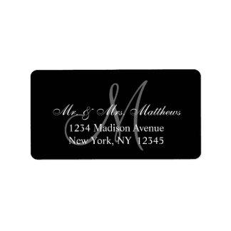 Casamento cinzento preto elegante do monograma etiqueta de endereço