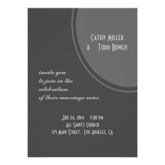 Casamento cinzento simples do círculo convites personalizado
