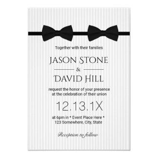 Casamento clássico dos laços alegres do dobro do convite 12.7 x 17.78cm