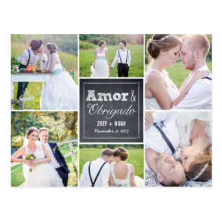 Casamento colagem riscado obrigado cartão cartao postal
