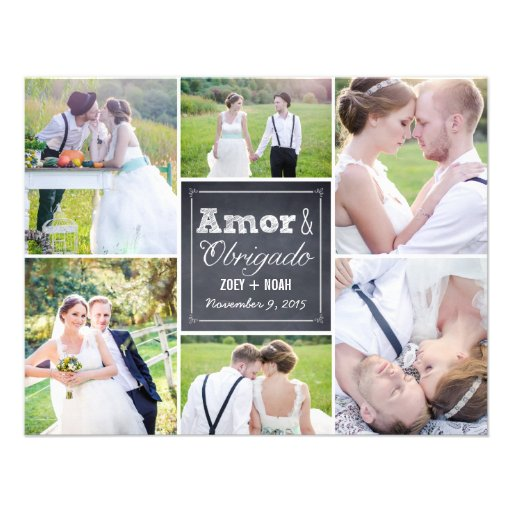 Casamento Collage riscado cartões de agradecimento Convites Personalizado