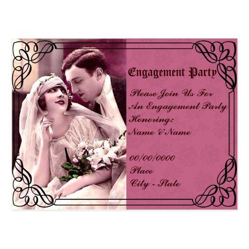 casamento, convite da festa de noivado cartão postal